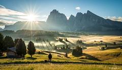 Enjoying (Wim Air) Tags: seiser alm alps dolomites italy south tyrol sun flare sunrise hut fog mood wimairat