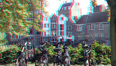 Delfshaven Rotterdam 3D (wim hoppenbrouwers) Tags: delfshaven rotterdam 3d anaglyph stereo redcyan haven bikes gevels