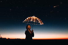 Astronomy dark dawn - Credit to https://homegets.com/ (davidstewartgets) Tags: astronomy dark dawn dusk girl happiness horizon illuminated joy lady light luminescence night person sky smiling stars umbrella woman