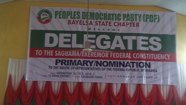 HSDickson - PDP Bayelsa West House of Reps Primary Nomination. 3rd October 2018