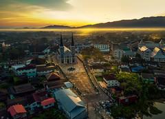 A cathedral in Thailand. (grantthai) Tags: cathedral thailand chantaburi buildings aerial sunrise dawn dji fog mist quaint oldtown town asian european colony