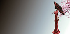 Fault In My Code (Xan Baran) Tags: 2ndlife secondlife avatar female umbrella cubiccherry oriental asian cherryblossom truth cerberusxing code5 astralia deaddollz lelutka maitreya glamaffair chain dress gown red