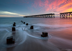 Receding Tide. (peterwilson71) Tags: arcitecture abandoned architecture boats beautiful clouds daybreak decay exposure reflections flow horizon industrial light sky longexposure landscape motion movement northeast outdoors ocean outdoor pier rocks skys sunrise seascape travel tide water canon6d
