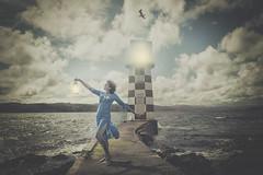Incandescent (kirstin.devens) Tags: 2018 september wellington lighthouse canoneos70d sigma1835 photoshop photomanipulation surrealism ocean sea sky dress selfportraits selfportrait