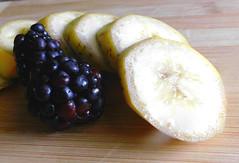 Banana and blackberry (shercredeur) Tags: bfood startswithletterb banana blackberry fruit macromondays hmm macrodreams