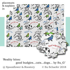 'Reality bites... by Su_G': placemats, napkins in a mockup (Su_G) Tags: sug 2018 reality realitybitesbysug placemats napkins mockup roostery spoonflower spoonflowercontest spoonflowerdesignchallenge napery tablewear tablemats animal animals budgies budgerigar budgerigars dog dogs cat cats realitybites harshtruths factsoflife handdrawn crayon naive fun quirky biology bird birds handwrittentext handwritten text message messageart