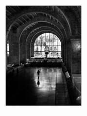 Le visiteur solitaire. (francis_bellin) Tags: 2018 exposition noiretblanc streetphoto septembre street homme barcelone muséedelamarine photoderue blackandwhite monochrome bw