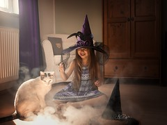 little bit of Magic (agirygula) Tags: magic magical cat girl child childphotography smoke harrypotter witch