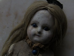 RIBBON_wax over papier-mâché doll_late 19th century (leaf whispers) Tags: antique victorian wax papier mâché doll 19thcentury 1860 vintage haunted eerie creepy ghost scary halloween witch humanhair realhair blond blonde composition waxover papermache aliceinwonderland mementomori grief loss mourning steampunk folkart americana artbrut outsider art entropy decay beauty kestner kister klosterveilsdorf contaboeme kling altbeckgottschalck abg hertwig
