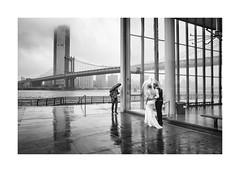 Rainy Wedding (Paphylo) Tags: story leicaq bridge water reallife newyork wedding dumbo brooklyn monochrome cloud manhattan blackandwhite people outdoor rain city document