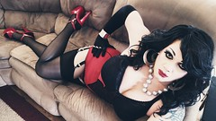 Femme Fatal (davina_wayne) Tags: tgirl crossdresser transvestite heels highheels hosiery stockings crossdressing lingerie suspenders garters tranny pantyhose tights corselette boi boy2girl m2f male2female nylons