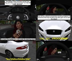 Second Gear - Episode 2 3/5 (alexandriabrangwin) Tags: alexandriabrangwin secondlife 3d cgi computer graphics virtual world photography top gear second parody funny silly comic wife partner mondy bristol starting white jaguar xf xe xk teabag british comedy cultural commentary engine start sound