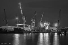 Süd-West Terminal - 06101801sw (Klaus Kehrls) Tags: schiffe kräne spiegelung nachtaufnahmen