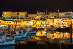 Yellow and Blue (JoshyWindsor) Tags: night reflections spain canoneos5dmarkiii agnitravel balearicislands ciutadella port canonef1740mmf4l menorca europe facades cityscape travel