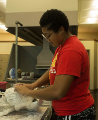 wcowley_Porter_student life_4 (wctres) Tags: department pittsburg state university gorillas kansas art sculpture student life 3d artwork classroom college plaster gauze