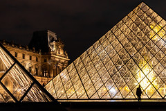 Bright glass pyramids of Louvre museum (jack-sooksan) Tags: louvre pyramid glass museum architecture design urban central paris france french tourism travel outdoor triangle attraction art abstract icon iconic roof landmark monument exterior europe dawn night twilight cloudy sky blue light building attractive square history palace dusk vivid beautiful tourist people silhouette famous popular european evening historic