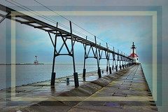 Long walk on a windy day....St Joseph Lighthouse (LotusMoon Photography) Tags: lighthouse painterly framed topaz filters digitalpainting artsy artistic artwork perspective pier stjoseph travel trip sky water lake annasheradon lotusmoonphotography