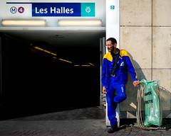 Street - Break (François Escriva) Tags: street streetphotography paris france candid olympus omd man worker dungaree overalls garbage bin colors subway yellow blue green light sun photo rue break cigarette