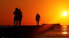 The Tripod-Man and the Girls (endresárvári) Tags: mallorca sunrise sunrising sea orange backlight silhouette morning dawn sun water