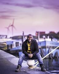 Benjamin (liesbet_sanders) Tags: portrait portraitmood man ethiopian sunset autumn sky ship lock canal