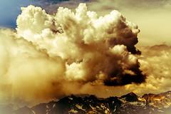 Firestorm (Frédéric Fossard) Tags: montagne mountain paysage landscape sky ciel nuages clouds orage tourmente storm fire feu couleur jaune color yellow alpes hautesavoie art surréaliste surreal cimes crêtes arêtes horizon weather texture peinture painting aiguillesrouges light lumière ombre shadow dramaticsky moodysky atmosphère mood stormcloud