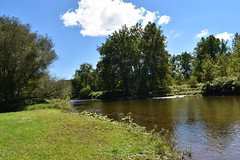 lazy (wendi47) Tags: river lake water nature clouds landscape rural woods green grass