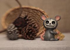Country Mouse (N.the.Kudzu) Tags: tabletop stilllife basket pine cones furrybones figurine mouse canondslr lensbabysol45 lightroom