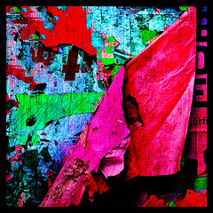 paper on the wall (j.p.yef) Tags: peterfey jpyef yef wall posters paper colorful torn tattered digitalart photomanipulation iphone square plakatwand abstract abstrakt elitegalleryaoi bestcapturesaoi