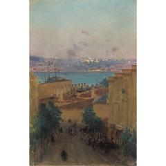 11019--fausto-zonaro-1854-1929-akaretler-deki-evinden-bogaz-a-bakis (skaradogan) Tags: