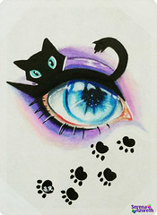 SerenaAzureth_ATC_EyesCats2 (SerenaAzureth) Tags: serenaazureth handdrawn sketch drawing prisma colored pencils pencil paint atc artist trading card swapbot swap bot makeup eye eyeshadow halloween black cat blackcat kitty