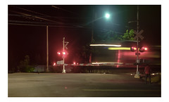 Long Island (PhotoRapper (Michael)) Tags: fujix100s night hiiso color xtrans cmos digital kingspark ny newyork longisland x100 x100s train crossing railroad railroadcrossing theartofbeingruled 169