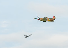 Hurricane with a Spitfire (Jez B) Tags: goodwood revival 2018 grrc road racing club course track circuit car auto motor sport motorsport classic historic show display hawker hurricane battle britain memorial flight bbmf world war 2 ii ww2 wwii fighter raf royal air force