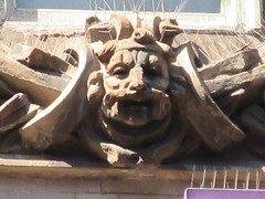 Mustache Man Gargoyle New Victory Theater 0592 (Brechtbug) Tags: mustache man gargoyle new victory theater above entrance way building facade near 7th avenue west 42nd street nyc 09152018 september york city midtown manhattan 2018 gargoyles portraits monster portrait monsters creature faces spooky art architecture sculpture keystone mask brownstone brown stone capital sneer sneering calm placid leaf men