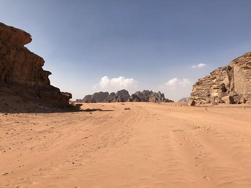 The Red and Yellow Desert Valley, Wadi Rum, Jordan.