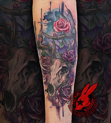 Watercolor Deer Skull White Tail Rose Roses Hunting Outdoors Realistic Tattoo by Jackie Rabbit