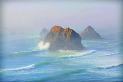 IN THE WAVES OF CHANGE WE SOMETIMES FIND OUR TRUE DIRECTION  ~~Sea Quote (Irene2727) Tags: rocks ocean pacificocean waves sea fog mist