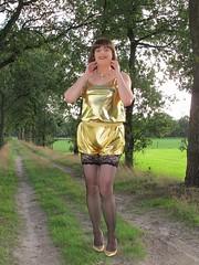 Legs (Paula Satijn) Tags: sexy hot girl gold golden metallic shorts top tgirl tranny shiny outside smile joy fun pleasure girly feminine cute sweet happy stockings lace stockingtops legs pumps heels shinyshorts spandex