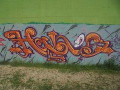 070 (en-ri) Tags: hans arancione viola bianco testa head torino wall muro graffti writing parco dora arrow rosa