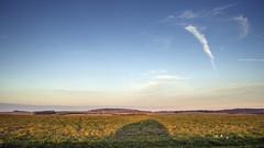 Contrail, Shadow and Hillfort (stevedewey2000) Tags: salisburyplain wiltshire landscapes contrail cloudscape clouds skyscape sky sidburyhill shadow tokina2035 169