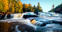 Autumn at Manido Falls (owenweberlive) Tags: michigan sunrise sunset landscape water lake dune sand sky grass summer fall autumn spring manido falls presque isle river porcupine mountains upper peninsula mi