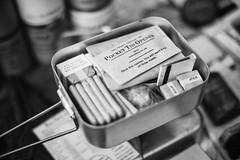 Ration tin (Rich Presswood) Tags: monochrome mono bw blackandwhite black white silverefexpro2 lightroom nottingham newsteadabbey 1940s reenactor ilfordhp5 fuji fujixpro2 xpro2 mitakonzhongyi35mmf095