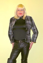 Black leather pants and boots - 1 (donnacd) Tags: sissy tgirl tgurl dressing crossdress crossdresser cd travesti transgenre xdresser crossdressing feminization tranny tv ts feminized jumpsuit domina blouse satin lingerie touchy feely he she look 易装癖 シー