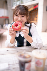 Happy young woman holding doughnut at open cafe (Apricot Cafe) Tags: ap2a0279 asia asianandindianethnicities cafe japan japaneseethnicity shibuyaward sigma35mmf14dghsmart tokyojapan autumn break candid capitalcities carefree casualclothing charming citylife colorimage day doughnut eating enjoyment foodanddrink fun happiness harajukudistrict holding icecoffee leisureactivity lifestyles lookingatcamera oneperson oneyoungwomanonly outdoors people photography realpeople sitting smiling street student sustainablelifestyle toothysmile universitystudent waistup women youngadult