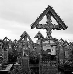 Cimitirul Vesel (Tofubratwurst) Tags: derlustigefriedhof cimitirulvesel analog yashica mat ionstanpatras sapanta rumänien yashicamat124g 120mm rollfilm tofubratwurst bw sw