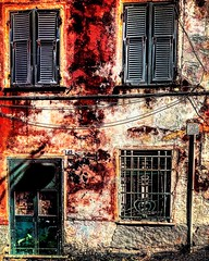 """""""At number forty-five"""" (giannipaoloziliani) Tags: 45 red closed shadows extreme art architecture liguria boccadasse genova genoa rovine casa darkness dark lightandshadow old oldhouse ruine house facade iphone iphonephotography decay suburbs italy italia capture streetart colors hard flickr hdr"""