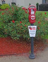 Please Do Not Give Cash To Panhandlers, Downtown Atlanta, Georgia (gg1electrice60) Tags: hiltongardeninn hotel parkingmeter sign cash panhandlers change collectchange tourists toassistthehomeless pole garden shrubs flowers mulch landscaping plants sidewalk path 275bakerstreet 275bakerst cornermariettastreet cornermariettast intersectionwithmariettastreet intersectionwithmariettast downtown downtownatlanta georgia fultoncounty atlanta unitedstates usa us america stoppanhandling parkatlanta 1996summerolympics