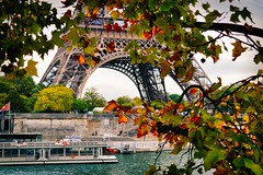 Autumn in Paris (stephaneblaisphoto) Tags: bridge architecture plant man made structure water built tree arch transportation connection autumn nature river day part leaf nautical vessel mode incidental people change outdoors eiffel tower