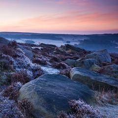 Frosty Peak District Dawn (Geoff France) Tags: landscape hathersage peak peakdistrict gritstone boulders rocks sky derbyshire