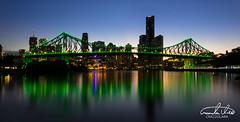 Story Bridge Brisbane (Theo Crazzolara) Tags: storybridge story bridge brisbane queensland night skyline party friday lights light green vivid sunset highlight backpacking vacation tourism business australia panorama panoramic
