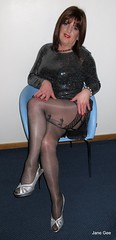Bow leg (janegeetgirl2) Tags: transvestite crossdresser crossdressing tgirl tv ts trans 2018 jane gee leeds first friday party dress fashion tights sparkly black shiny heels travelodge silver